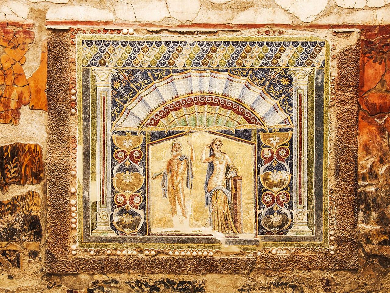 fresque de l'ancienne cité perdue d'Herculanum. Chose à voir dans le musée de Naples