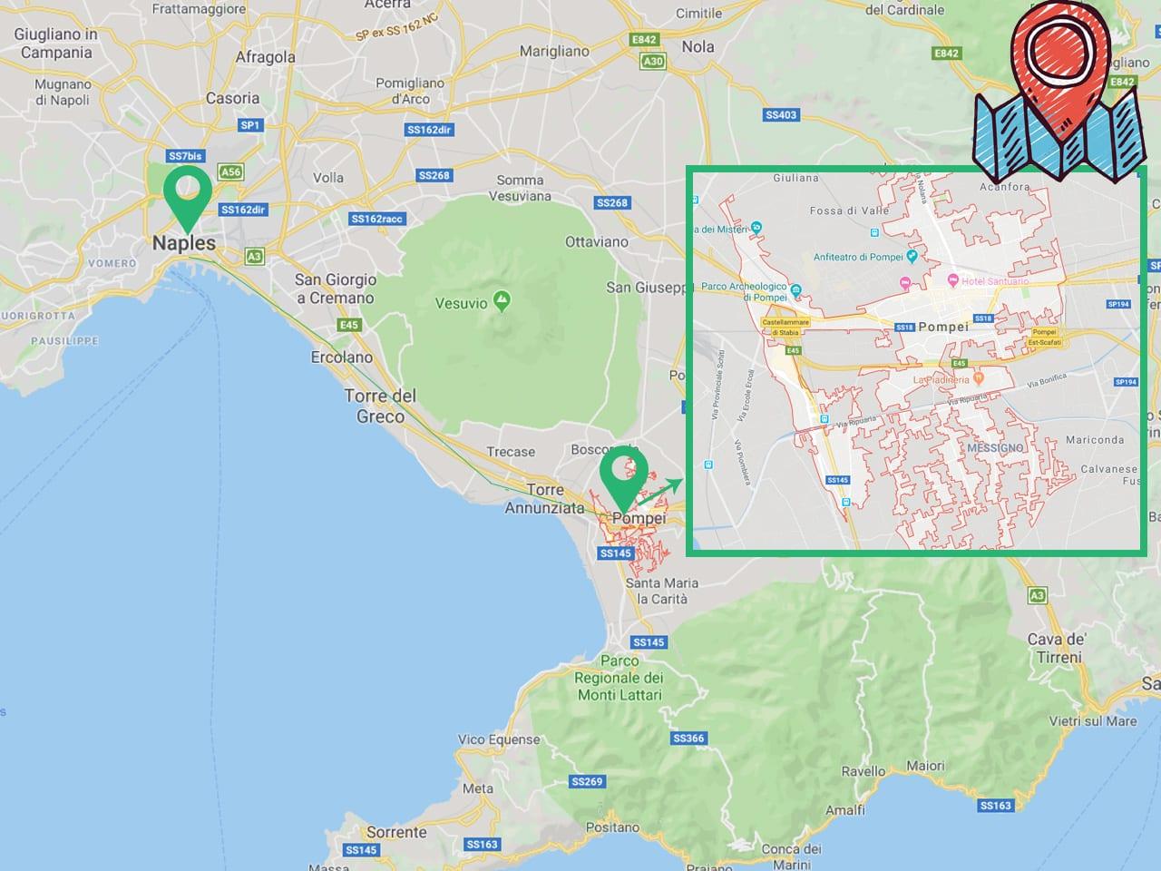 carte d'accès pour se rendre à  Naples