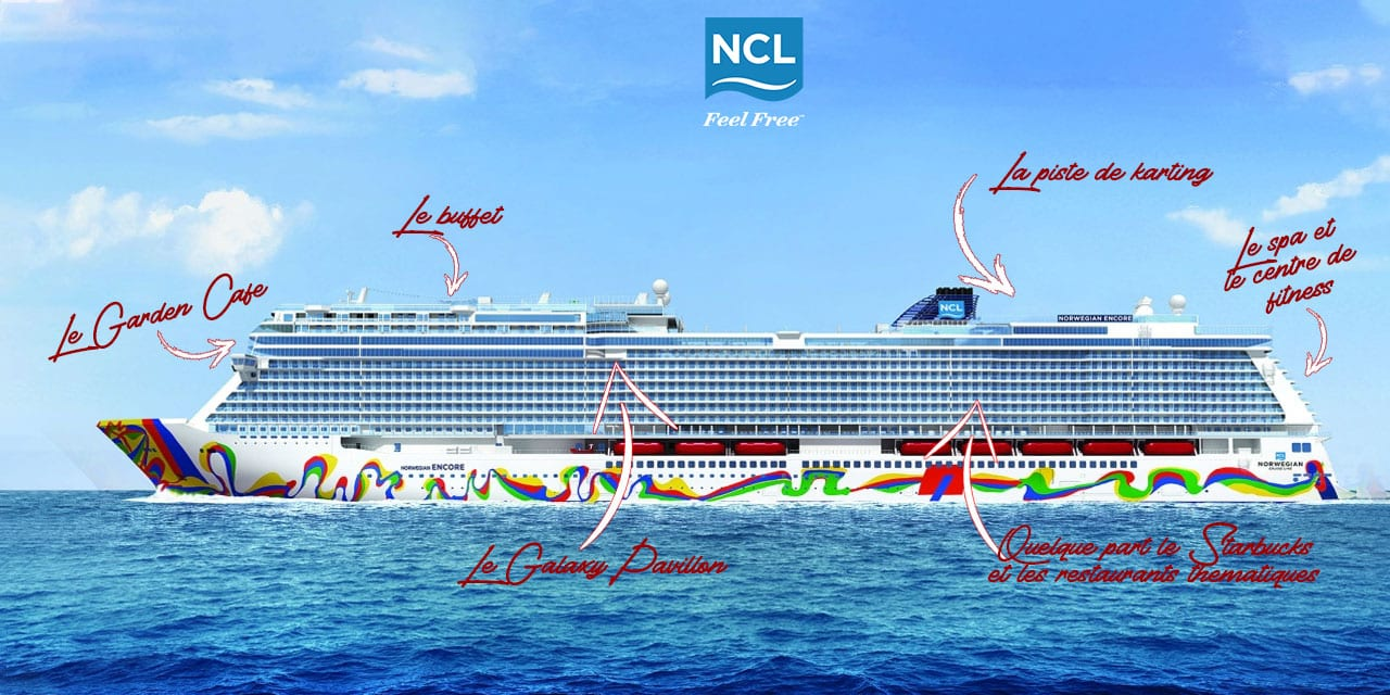 Plan des endroits à visiter sur le NCL Encore