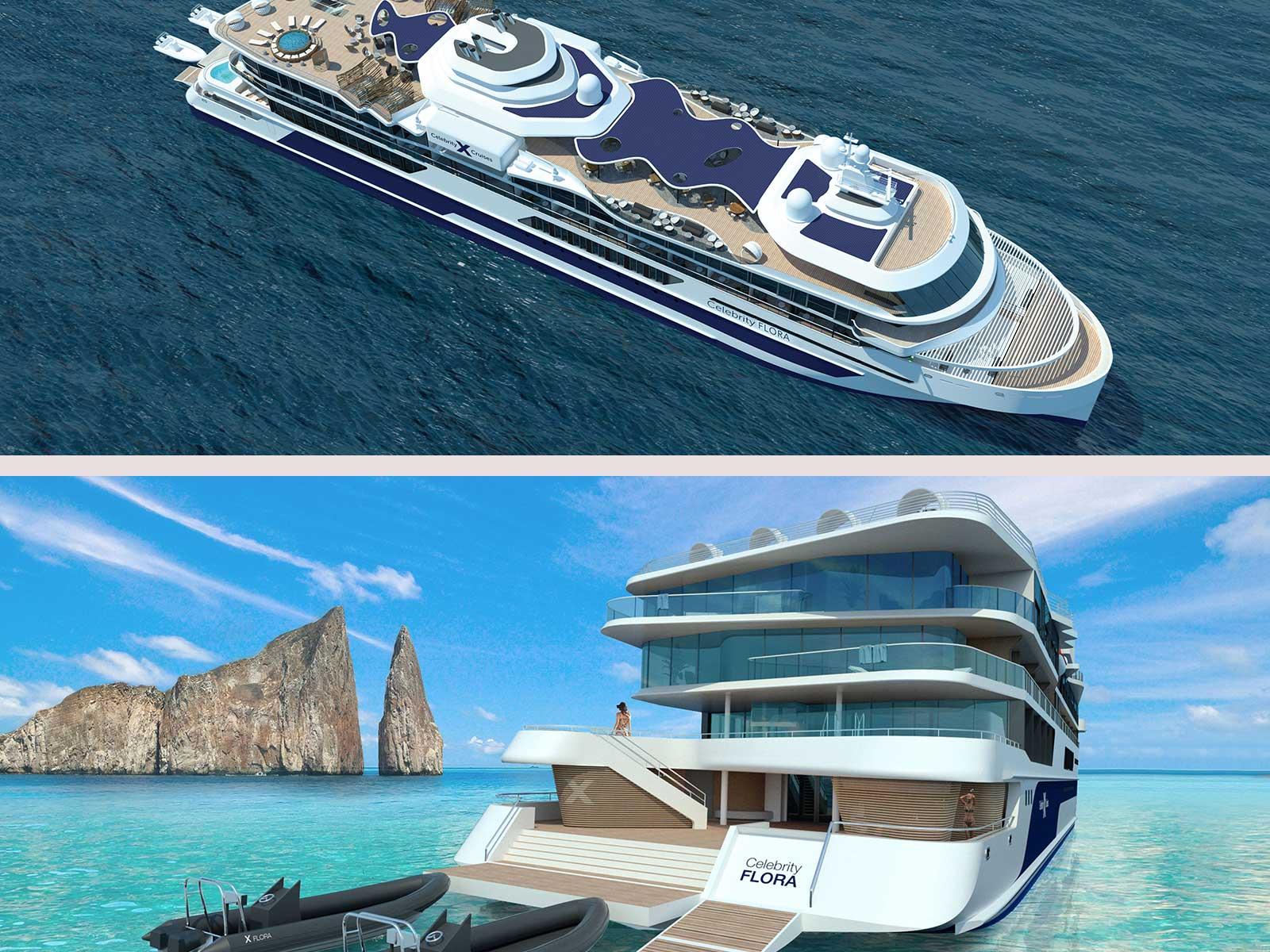 Le Celebrity Flora, premier yacht de luxe d'expedition intimiste de la compagnie Celebrity Cruises.