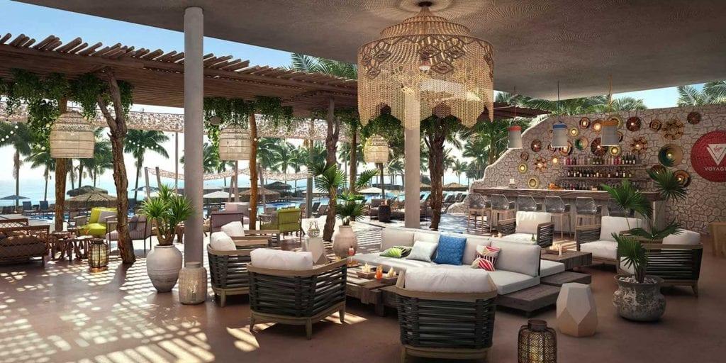 vue 3D d'un salon/lougne prèsde la piscine princpale sur Bimini beach club